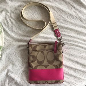 Coach Signature Stripe Pink Cross Body Bag